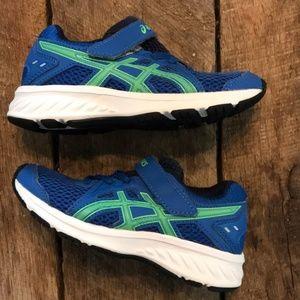 ASICS Boys SZ11 blue & green sneakers